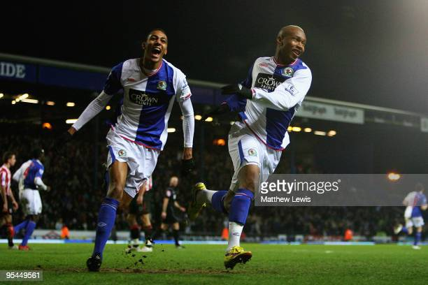 El Hadji Diouf of Blackburn celebrates his goal with Steven Nzonzi during the Barclays Premier League match between Blackburn Rovers and Sunderland...