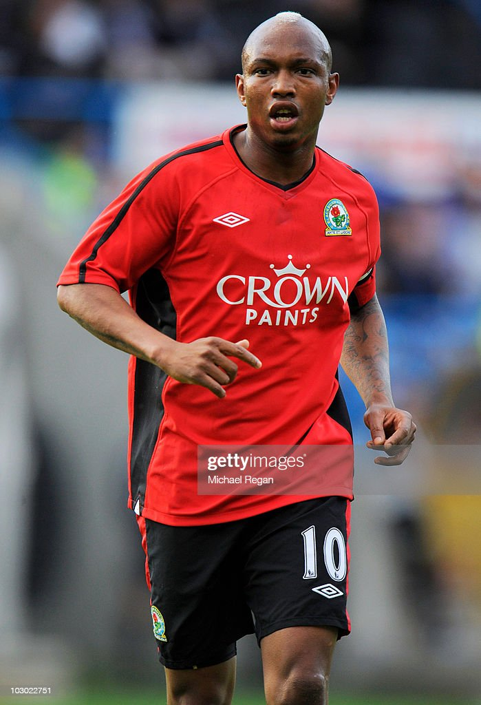 El Hadji Diouf of Blackburn in action during the preseason friendly match between Huddersfield Town and Blackburn Rovers at the Galpharm Stadium on...