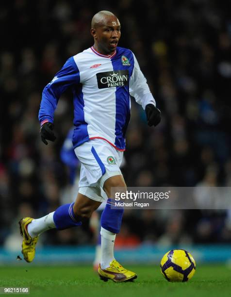 El Hadji Diouf of Blackburn on the ball during the Barclays Premier League match between Blackburn Rovers and Wigan Athletic at Ewood Park on January...
