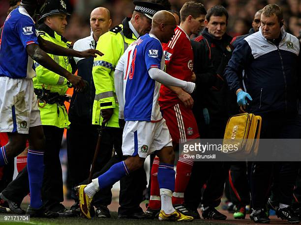 El Hadji Diouf of Blackburn Rovers and Steven Gerrard of Liverpool leave the pitch at the end of the first half during the Barclays Premier League...
