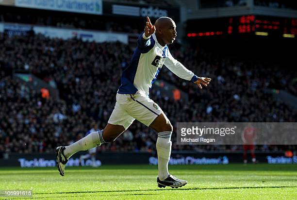 El Hadji Diouf of Blackburn Rovers celebrates scoring his team's first goal during the Barclays Premier League match between Liverpool and Blackburn...
