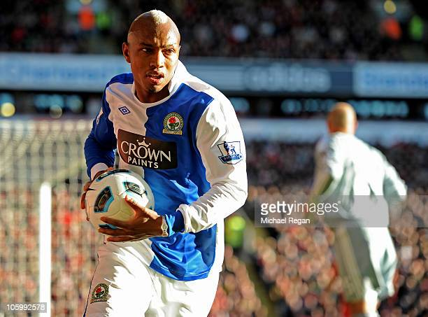 El Hadji Diouf of Blackburn Rovers prepares to take a corner during the Barclays Premier League match between Liverpool and Blackburn Rovers at...