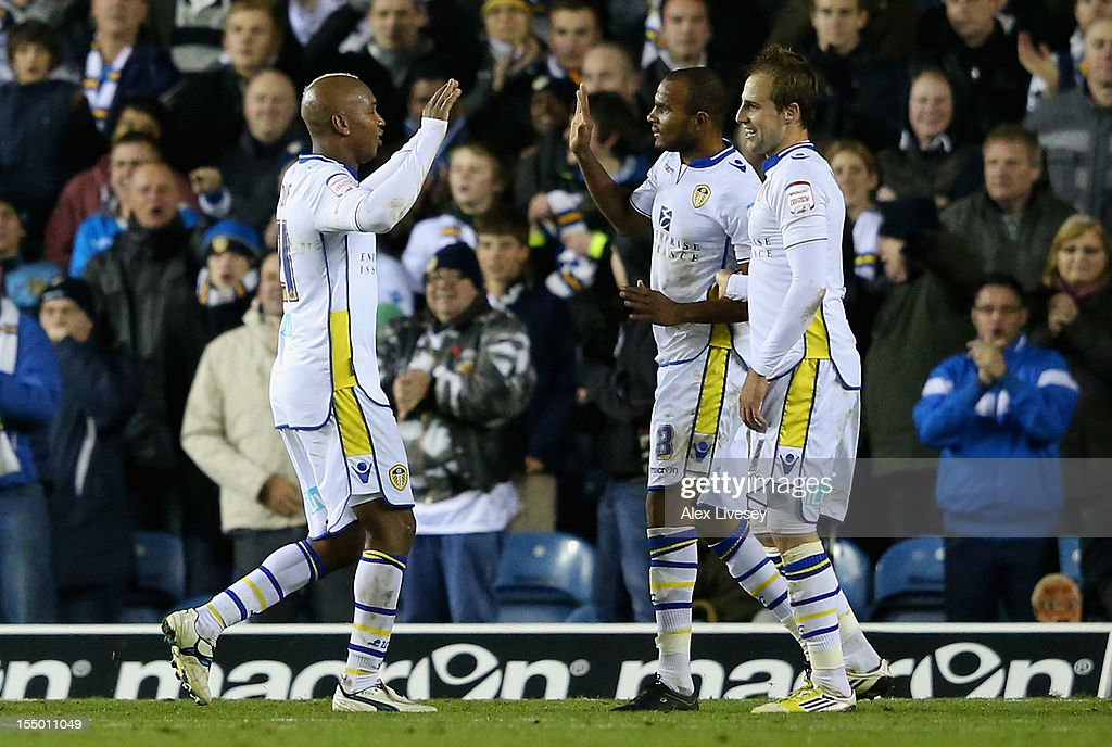 <a gi-track='captionPersonalityLinkClicked' href=/galleries/search?phrase=El+Hadji+Diouf&family=editorial&specificpeople=204332 ng-click='$event.stopPropagation()'>El Hadji Diouf</a> of Leeds United (L) celebrates scoring his team's second goal with his team-mates during the Capital One Cup Fourth Round match between Leeds United and Southampton at Elland Road on October 30, 2012 in Leeds, England.