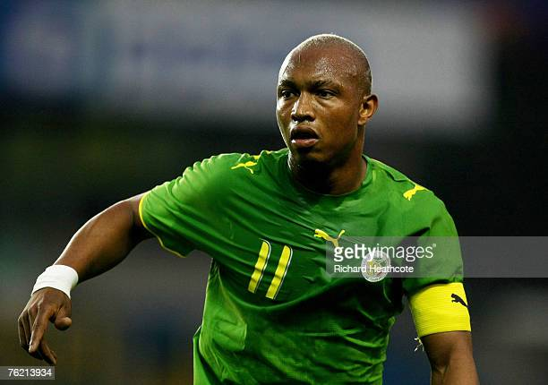 El Hadji Diouf of Senegal in action during the international friendly match between Ghana and Senegal at The New Den on August 21 2007 in London...