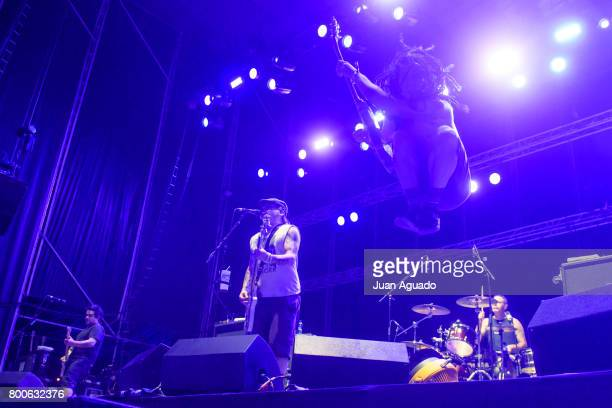 El Hefe Fat Mike Eric Melvin and Erik Sandin of NOFX perform on stage at the Download Festival on June 24 2017 in Madrid Spain