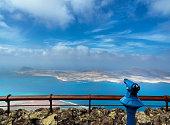 el mirador del rio -  the Atlantic Ocean and the Chinijo archipelago - La Graciosa, Alegranza, Montaña Clara, Roque del Este, Roque del Oeste and Roque del Infierno - a marine reserve area.