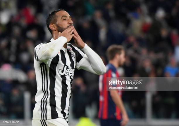 El Mouttaqui Benatia of Juventus celebrates after scoring his team third goal during the Serie A match between Juventus and FC Crotone at Allianz...