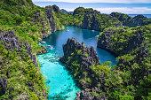 El Nido, Palawan, Philippines, aerial view of beautiful lagoon in the Bacuit archipelago.