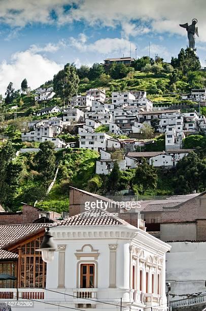El Panecillo with winged Virgin Statue at top of hill, Quito, Ecuador