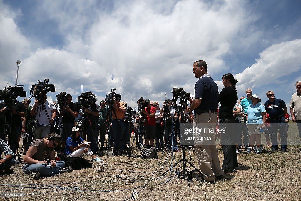 El Paso County sheriff Terry Maketa speaks to reporters and displaced residents during a press conference on June 15, 2013 in Colorado Springs, Colorado. The Black Forest fire is the most destructive in Colorado history, having consumed more than 15,000 acres as of this morning while destroying 473 homes. The fire is 45 percent contained. Two people have died in the fire.