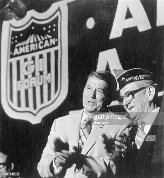 President Ronald Reagan attends the American GI Forum Next to him is Hector Garcia founder of the forum