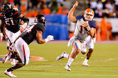 Jameill Showers of the UTEP Miners runs by Kenny Williams of the Texas Tech Red Raiders during game action on September 6 2014 at the Sun Bowl in El...