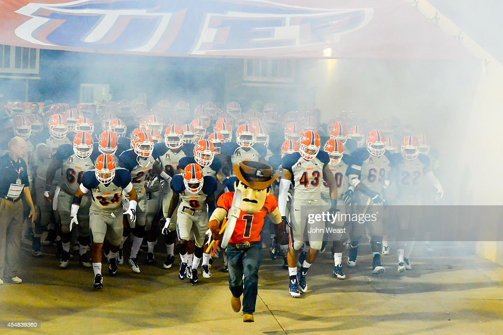 UTEP Miners take the field on September 6 2014 to play the Texas Tech Red Raiders at the Sun Bowl in El Paso Texas The Texas Tech Red Raiders...