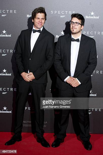 El Rubius and Mangel attend 'SPECTRE 007' premiere at Teatro Real on October 28 2015 in Madrid Spain