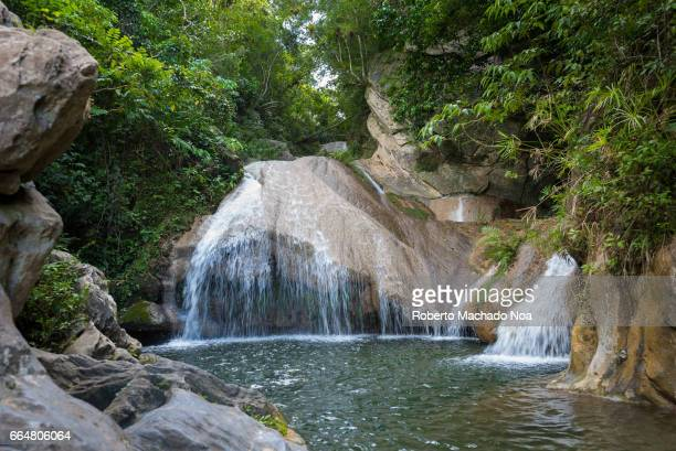 'El Salto del Hanabanilla' waterfall or cascade in the Escambray mountains The Area is a natural reserve for ecotourism It showcase the beauty of the...