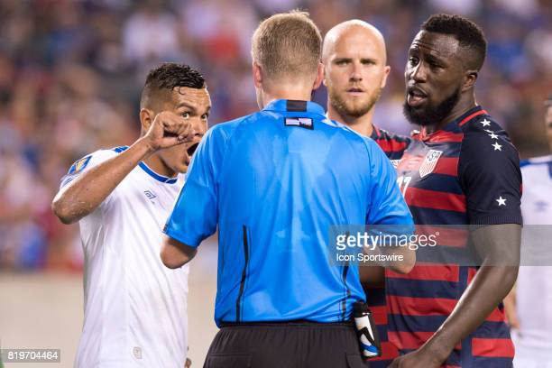 El Salvador Defender Henry Romero and United States Forward Jozy Altidore plead their case to the referee in the second half during the CONCACAF Gold...