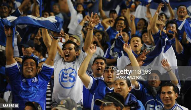 El Salvador fans celebrate after their team's victory during their CONCACAF Gold Cup game against Costa Rica at the Home Depot Stadium in Los Angeles...