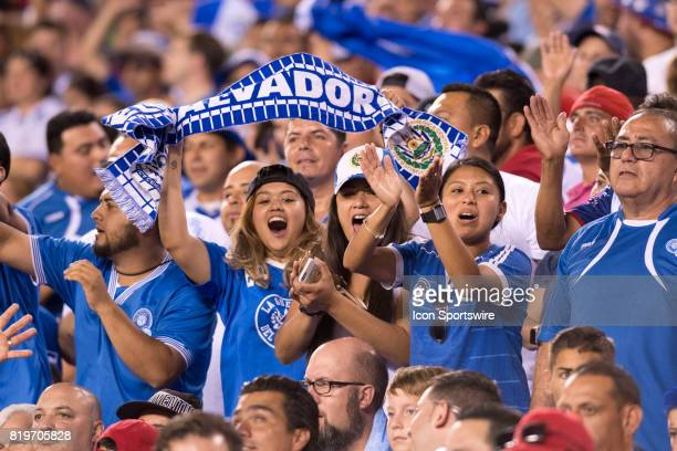 El Salvador fans cheer in the first half during the CONCACAF Gold Cup Quarterfinal game between the United State and El Salvador on July 19 2017 at...