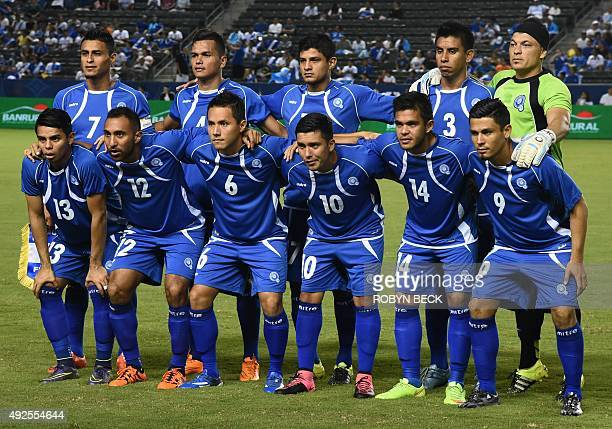 El Salvador poses for a team photo before their 'la Copa Delta' national team soccer friendly match on October 13 2015 at the Stub Hub Center in...
