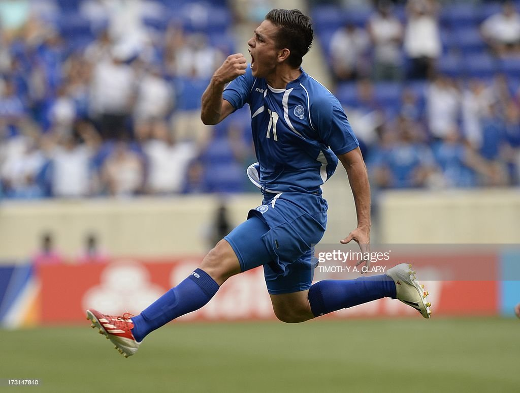 El Salvador Rodolfo Zelaya celbrates scoring a goal against Trinidad Tobago during their CONCACAF Gold Cup match on July 8 2013 at the Red Bull Arena...