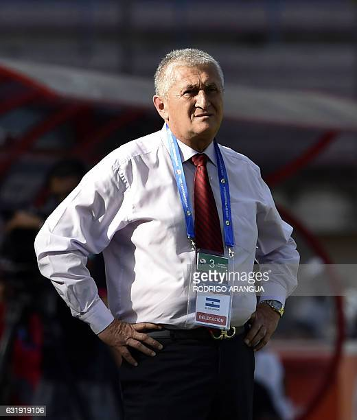 El Salvador's coach Eduardo Lara gestures during the Central American Football Union tournament at Rommel Fernandez stadium in Panama City on January...