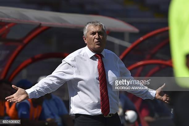 El Salvador's coach Eduardo Lara gestures during their Central American Football Union tournament match against Nicaragua at Rommel Fernandez stadium...