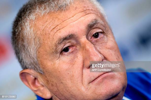El Salvador's coach Eduardo Lara listens to a question during a press conference a day before their CONCACAF Gold Cup match against Jamaica at the...