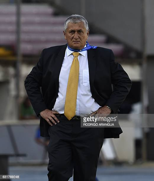 El Salvador's coach Eduardo Lara looks on during the Central American Football Union tournament match between El Salvador and Honduras at Rommel...