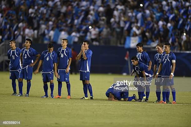 El Salvador's Jose Pena reacts after missing his penalty kick in the overtime shoot out against Guatemala at the 'la Copa Delta' national team soccer...