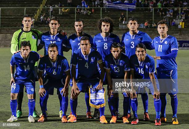 El Salvador´s national football team poses before a friendly football match against Nicaragua´s national football team at the National stadium in...