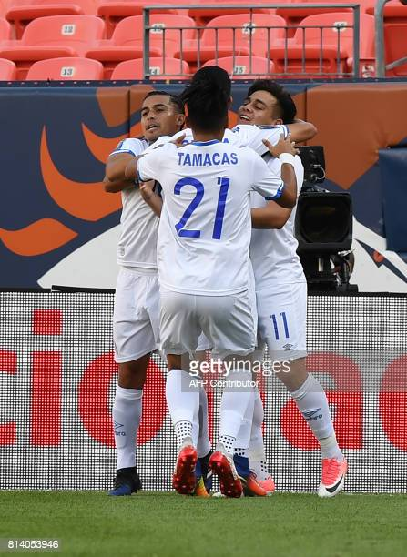 El Salvador's Rodolfo Zelaya celebrates with teammates after scoring against Curazao during the El Salvador vs Curacao CONCACAF Group C Gold Cup...