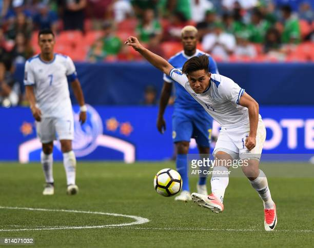 El Salvador's Rodolfo Zelaya passes the ball against Curazao during the El Salvador vs Curacao CONCACAF Group C Gold Cup soccer game on July 13 2017...