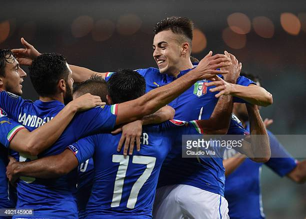 El Shaarawy of Italy celebrates after scoring the second goal during the UEFA Euro 2016 qualifying football match between Azerbaijan and Italy at...