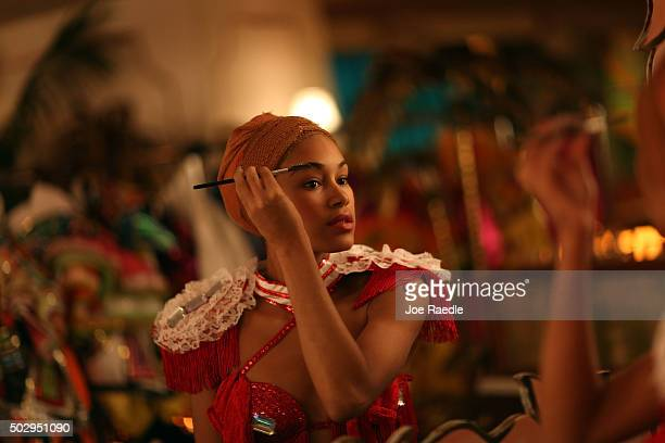 El Tropicana de Cuba dancer Maydelis Jimenez puts on her makeup as she prepares to rehearse for their three day debut at the El Tucan modernday...