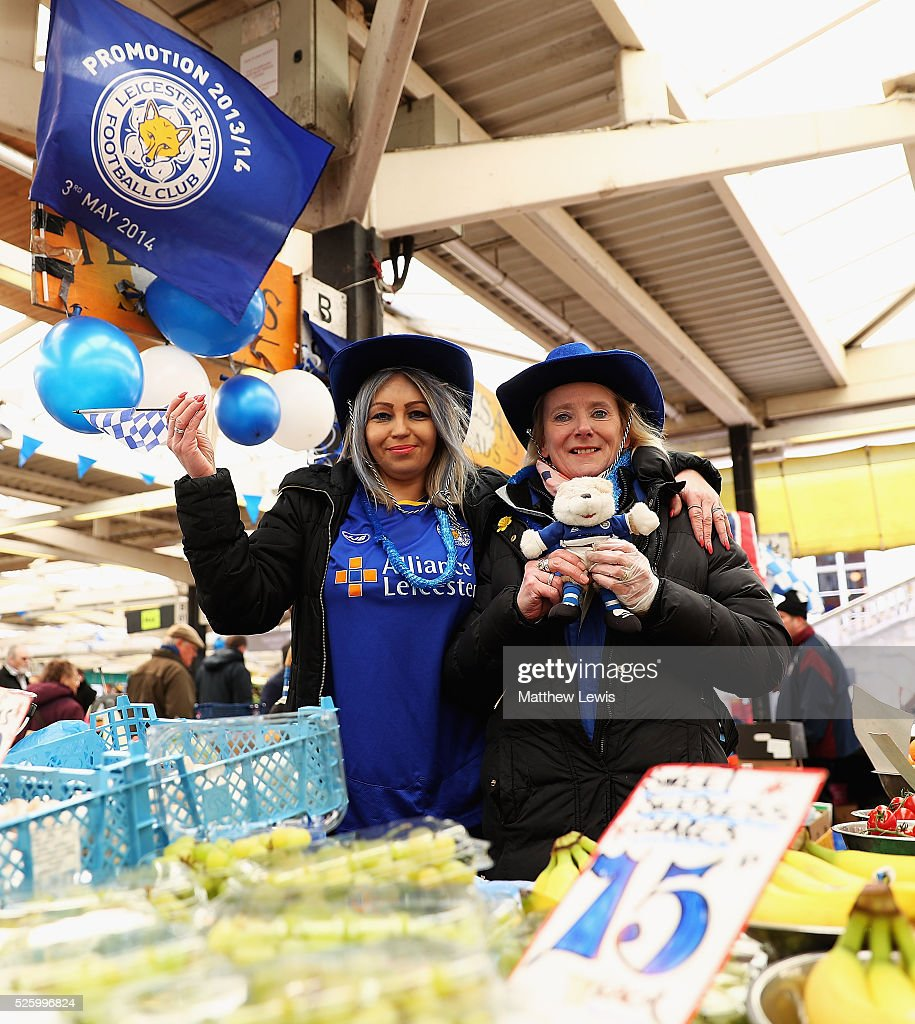 Ela Godek and Teresa Wall of Teresa's Salads show their support towards Leicester City FC during a Leicester Backing the Blues Campaign in support of Leicester City on April 29, 2016 in Leicester, England.