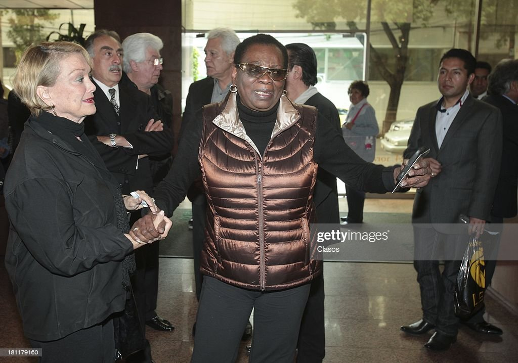 Ela Laboriel during the funeral of Rock & Roll singer Johnny Laboriel at the Gayosso Sullivan Funeral Agency on September 18, 2013 in Mexico City, Mexico.