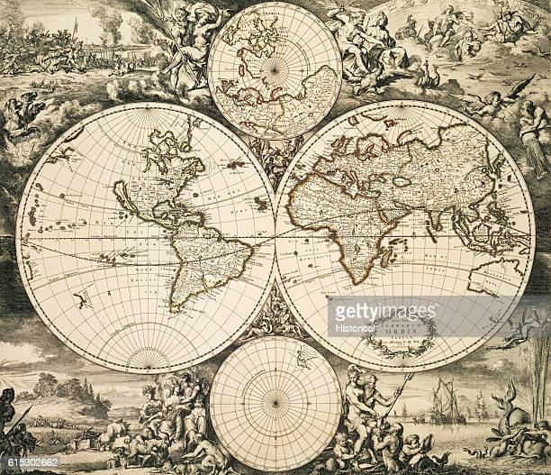 Elaborate allegorical and mythological decorations surround a double hemisphere map from 1680 Amsterdam
