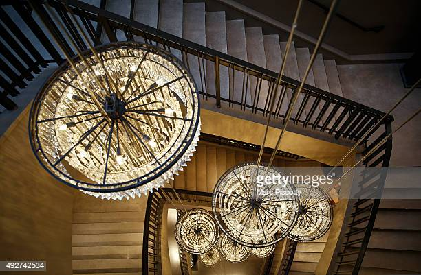 Elaborate chandeliers decorate the four floors of the new Restoration Hardware's 65000 square foot store at the Cherry Creek Shopping Center on...