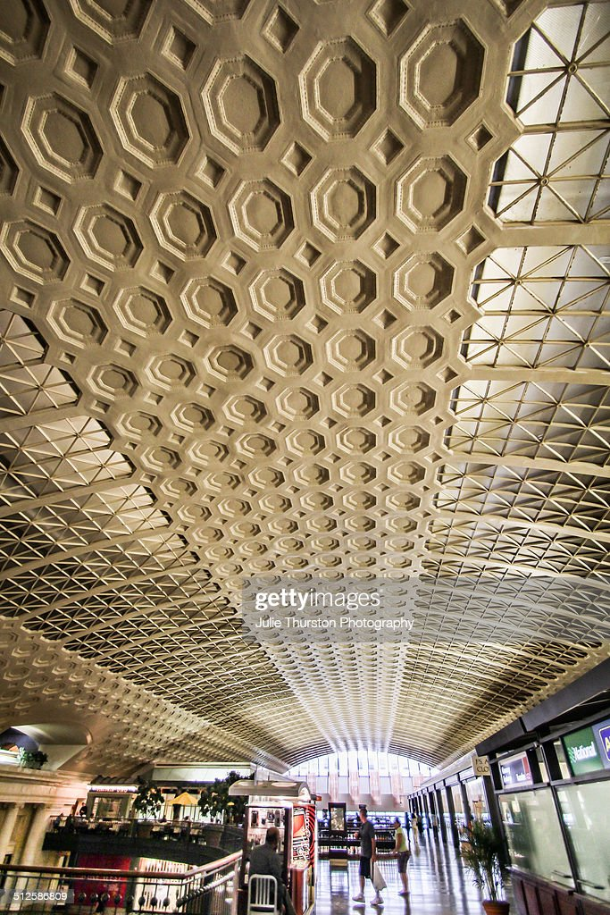 Elaborate High Plaster Ceiling in the Original Concourse Interior Of Union Station Now Shopping Located in Washington DC Part of the US Department of...