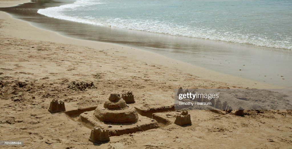 Elaborate sand castle on the beach : Stock Photo