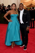 Elaina Watley and NFL player Victor Cruz attend the 'Charles James Beyond Fashion' Costume Institute Gala at the Metropolitan Museum of Art on May 5...
