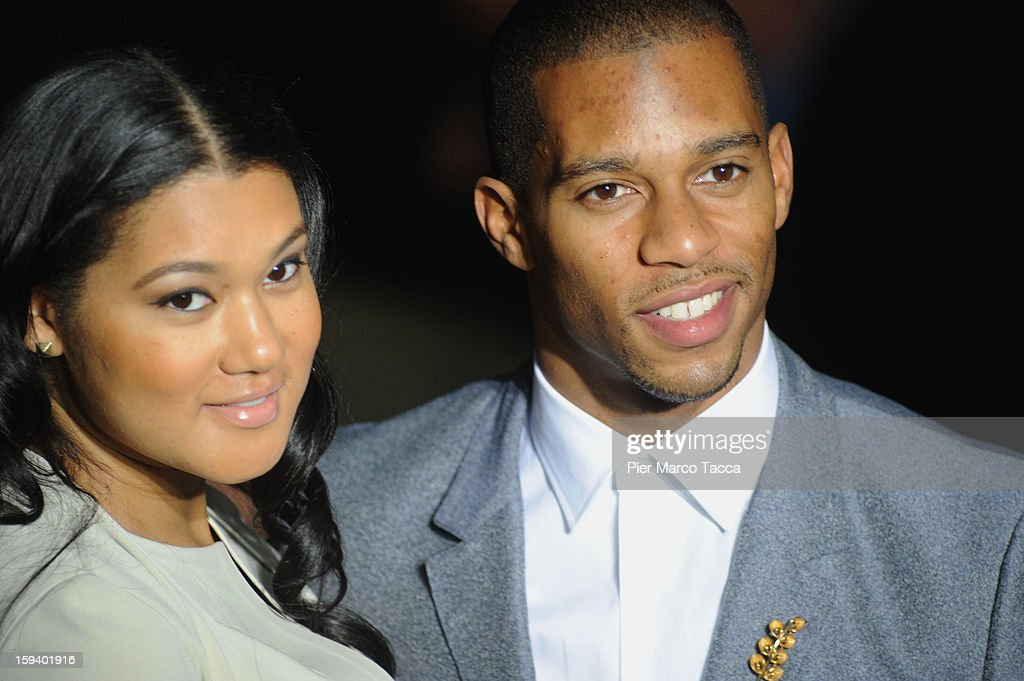 Elaina Watley and Victor Cruz attend the Calvin Klein Collection show as part of Milan Fashion Week Menswear Autumn/Winter 2013 on January 13, 2013 in Milan, Italy.