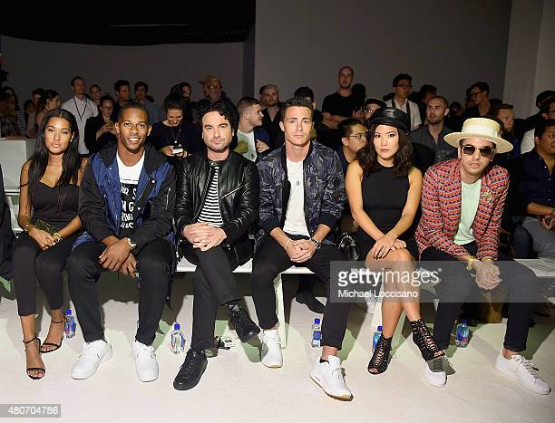 Elaina Watley professional football player Victor Cruz actor Johnny Galecki actor/model Colton Haynes actress Ally Maki and DJ Cassidy attend the...
