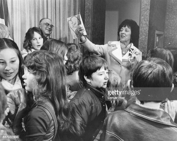 Elaine Barbour Is Surrounded By Her Pupils After Arrival At Stapleton Airport She holds aloft a card from a girl in her sixthgrade class at Montrose...