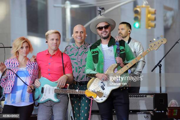 Elaine Bradley Chris Allen Tyler Glenn and Branden Campbell of Neon Trees performs on NBC's 'Today' at the NBC's TODAY Show on August 15 2014 in New...
