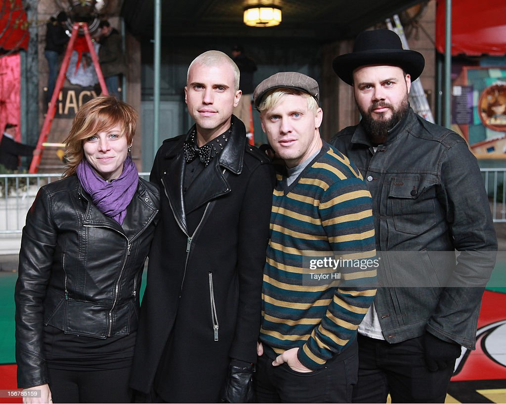 Elaine Bradley, Tyler Glenn, Chris Allen, and Branden Campbell of Neon Trees pose during day two of the 86th Anniversary Macy's Thanksgiving Day Parade Rehearsals at Macy's Herald Square on November 20, 2012 in New York City.