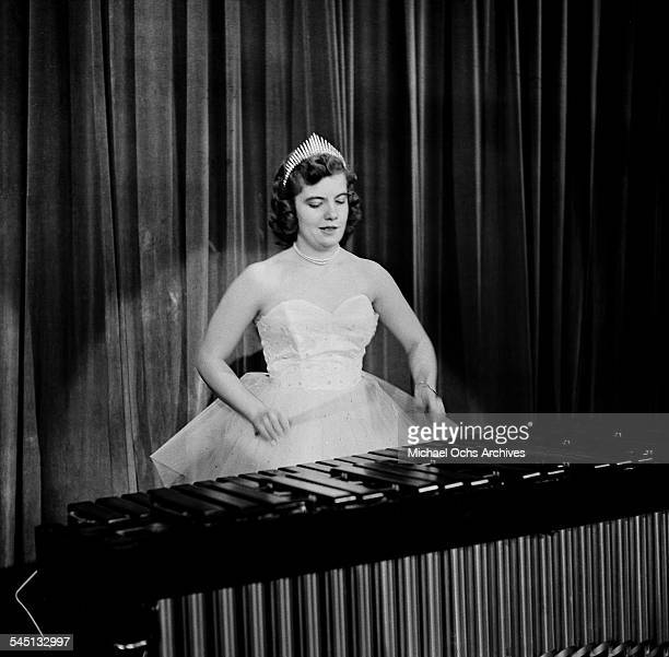Elaine Browning plays the xylophone on the 'Toast of the Town' show hosted by Ed Sullivan at the Maxine Elliott Theater in New York New York