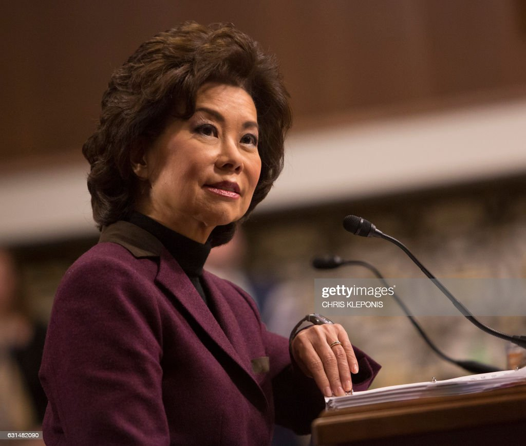 Elaine Chao appears before the Senate The Senate Commerce, Science and Transportation Committee on Capitol Hill in Washington, DC for her confirmation hearing to be US Secretary of Transportation, January 11, 2017. / AFP / CHRIS