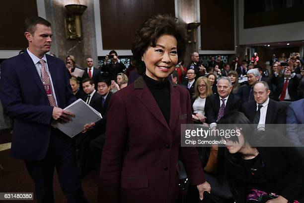 Elaine Chao arrives for her confirmation hearing to be the next US secretary of transportation before the Senate Commerce Science and Transportation...