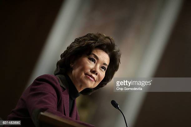 Elaine Chao testifies during her confirmation hearing to be the next US secretary of transportation before the Senate Commerce Science and...